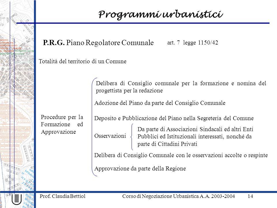 Programmi urbanistici Prof. Claudia Bettiol Corso di Negoziazione Urbanistica A.A. 2003-200414 P.R.G. Piano Regolatore Comunale Totalità del territori