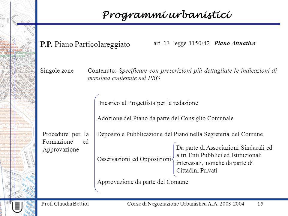 Programmi urbanistici Prof. Claudia Bettiol Corso di Negoziazione Urbanistica A.A. 2003-200415 P.P. Piano Particolareggiato Singole zone art. 13 legge