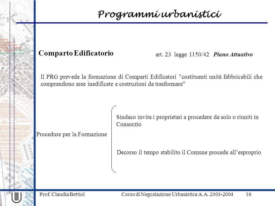 Programmi urbanistici Prof. Claudia Bettiol Corso di Negoziazione Urbanistica A.A. 2003-200416 Comparto Edificatorio art. 23 legge 1150/42 Piano Attua