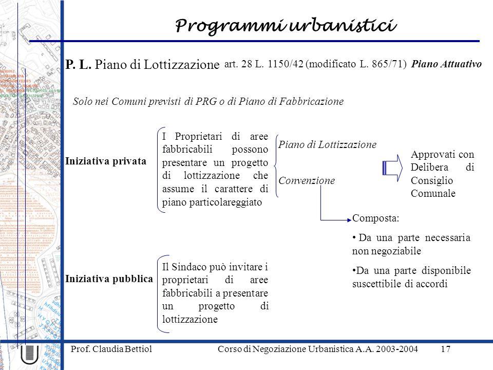 Programmi urbanistici Prof. Claudia Bettiol Corso di Negoziazione Urbanistica A.A. 2003-200417 P. L. Piano di Lottizzazione art. 28 L. 1150/42 (modifi