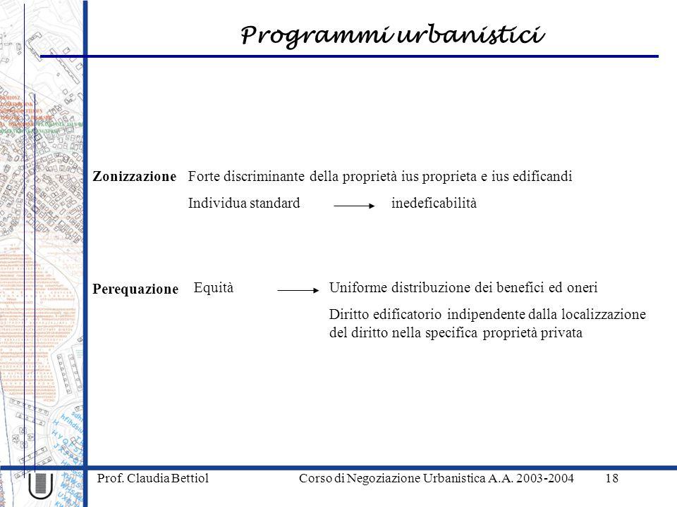Programmi urbanistici Prof. Claudia Bettiol Corso di Negoziazione Urbanistica A.A. 2003-200418 Zonizzazione Perequazione Forte discriminante della pro