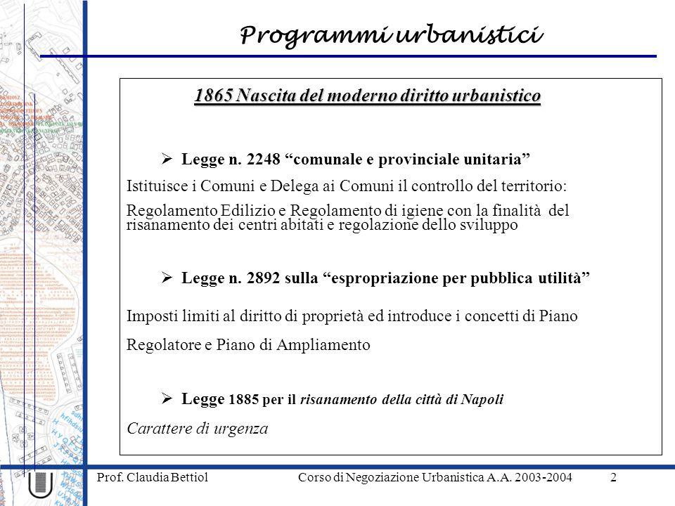 Programmi urbanistici Prof. Claudia Bettiol Corso di Negoziazione Urbanistica A.A. 2003-20042 1865 Nascita del moderno diritto urbanistico Legge n. 22