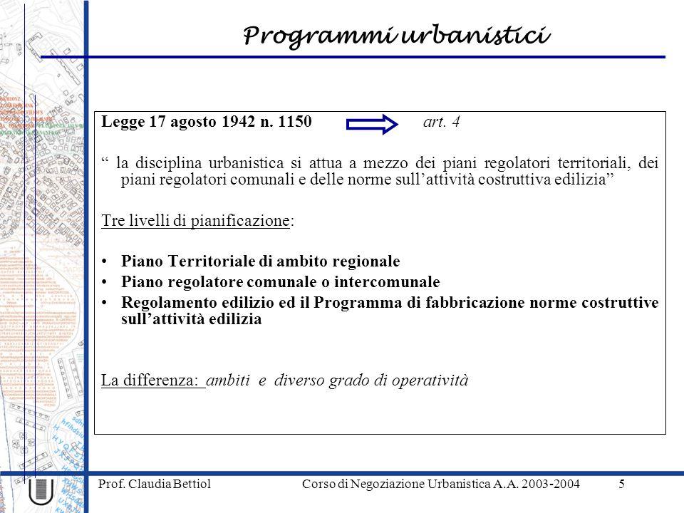 Programmi urbanistici Prof. Claudia Bettiol Corso di Negoziazione Urbanistica A.A. 2003-20045 Legge 17 agosto 1942 n. 1150 art. 4 la disciplina urbani