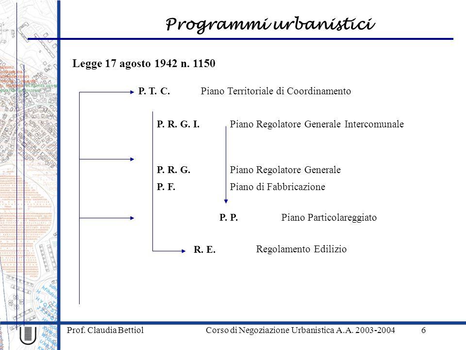 Programmi urbanistici Prof. Claudia Bettiol Corso di Negoziazione Urbanistica A.A. 2003-20046 Legge 17 agosto 1942 n. 1150 P. T. C. P. R. G. R. E. P.