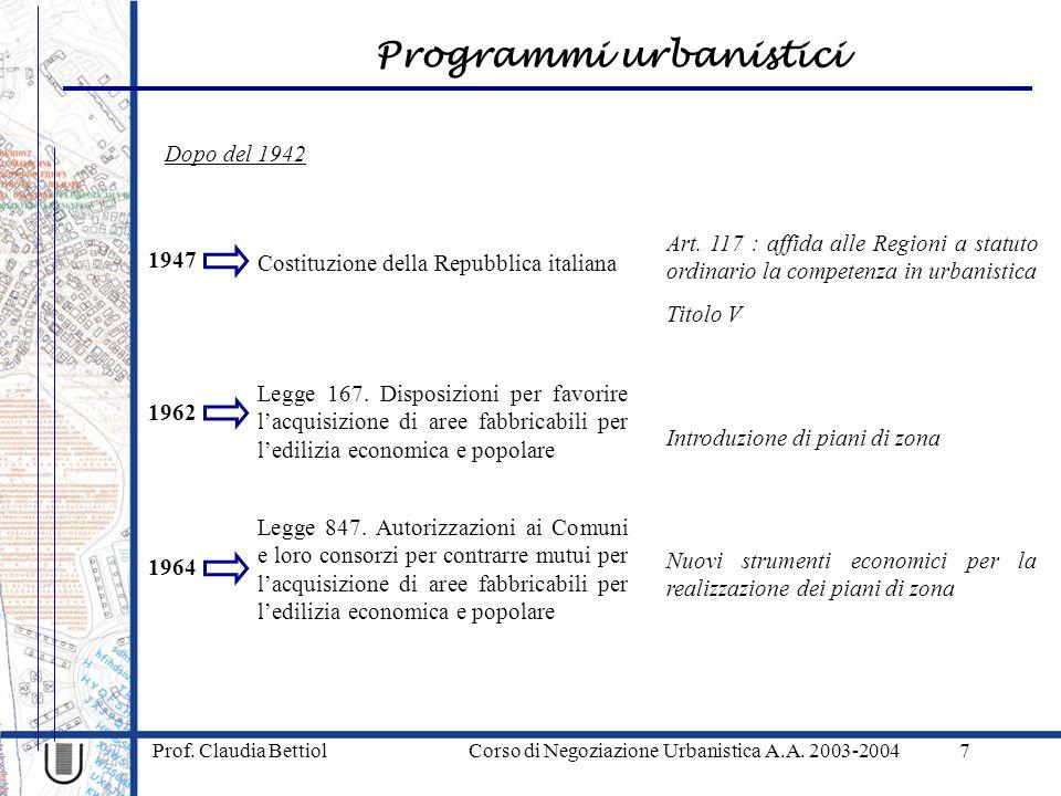 Programmi urbanistici Prof. Claudia Bettiol Corso di Negoziazione Urbanistica A.A. 2003-20047 1947 Costituzione della Repubblica italiana Dopo del 194