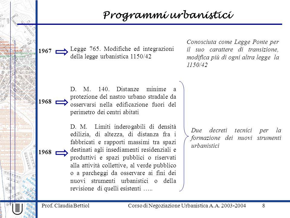 Programmi urbanistici Prof. Claudia Bettiol Corso di Negoziazione Urbanistica A.A. 2003-20048 1967 Legge 765. Modifiche ed integrazioni della legge ur