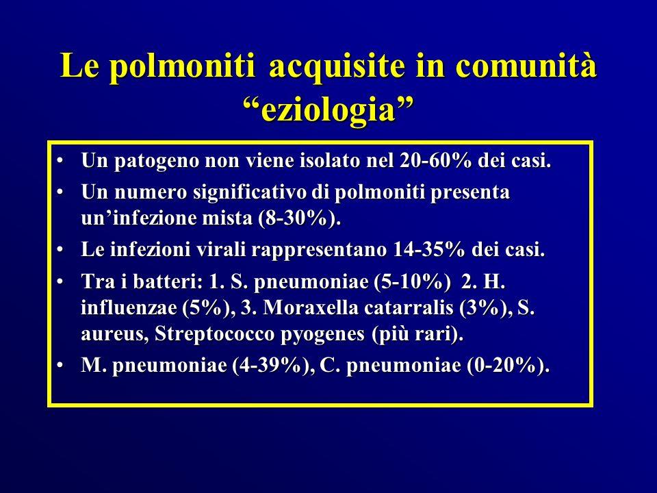 Le polmoniti acquisite in comunità eziologia Un patogeno non viene isolato nel 20-60% dei casi.Un patogeno non viene isolato nel 20-60% dei casi. Un n
