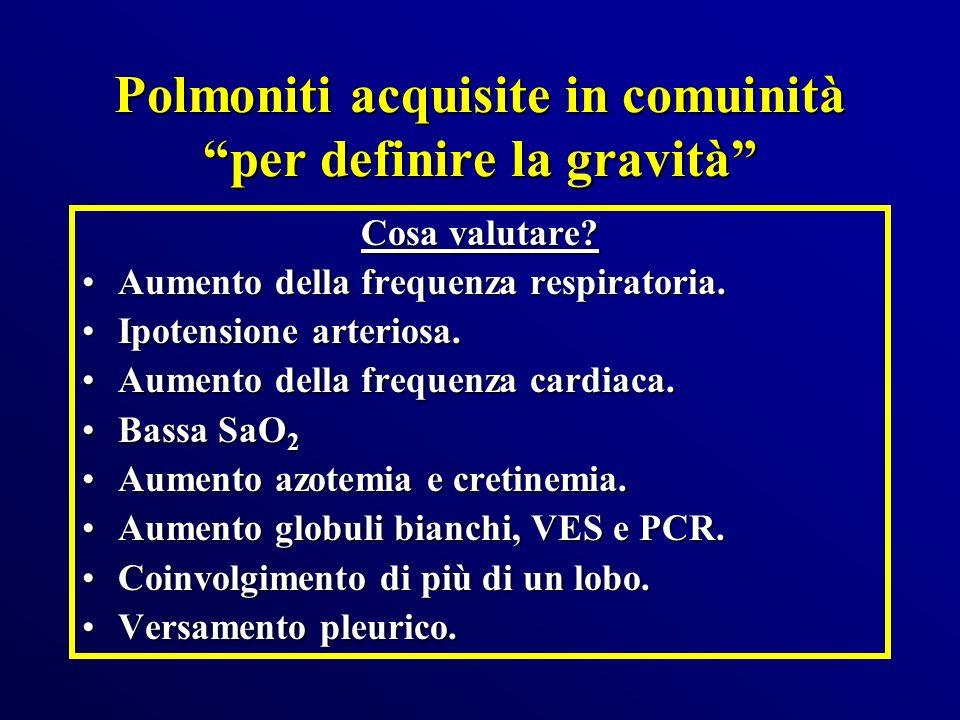 Polmoniti acquisite in comuinità per definire la gravità Cosa valutare? Aumento della frequenza respiratoria.Aumento della frequenza respiratoria. Ipo