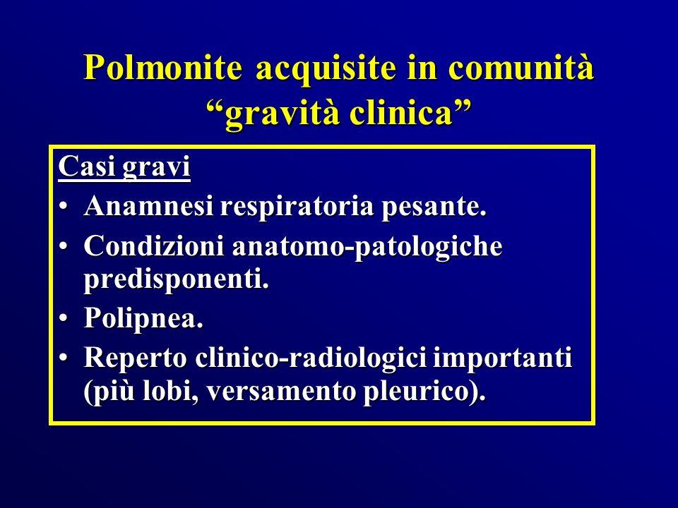 Polmonite acquisite in comunità gravità clinica Casi gravi Anamnesi respiratoria pesante.Anamnesi respiratoria pesante. Condizioni anatomo-patologiche