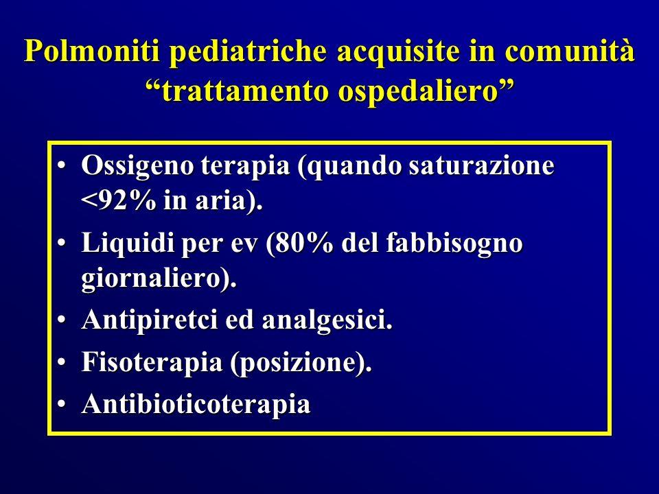 Polmoniti pediatriche acquisite in comunità trattamento ospedaliero Ossigeno terapia (quando saturazione <92% in aria).Ossigeno terapia (quando satura