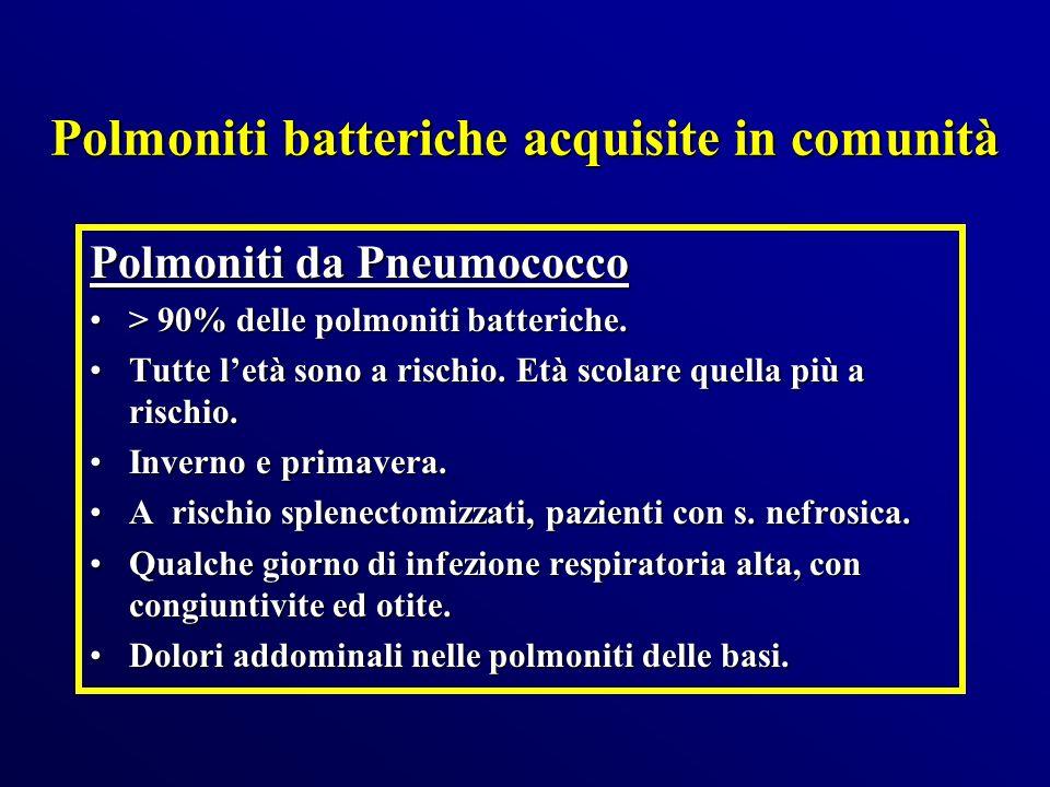 Polmoniti batteriche acquisite in comunità Polmoniti da Pneumococco > 90% delle polmoniti batteriche.> 90% delle polmoniti batteriche. Tutte letà sono