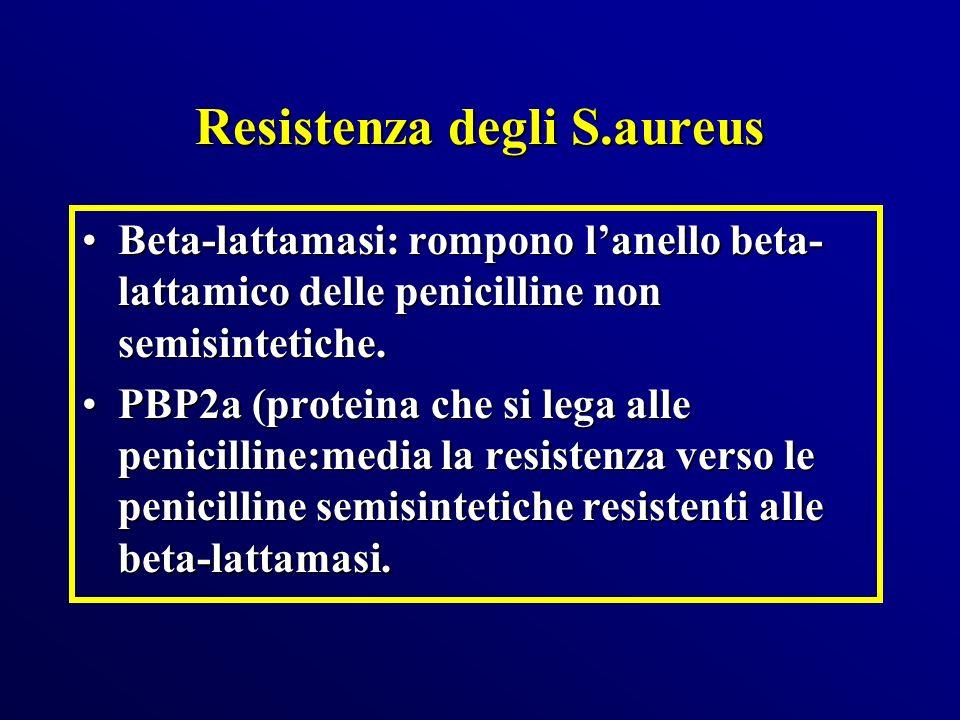 Resistenza degli S.aureus Beta-lattamasi: rompono lanello beta- lattamico delle penicilline non semisintetiche.Beta-lattamasi: rompono lanello beta- l