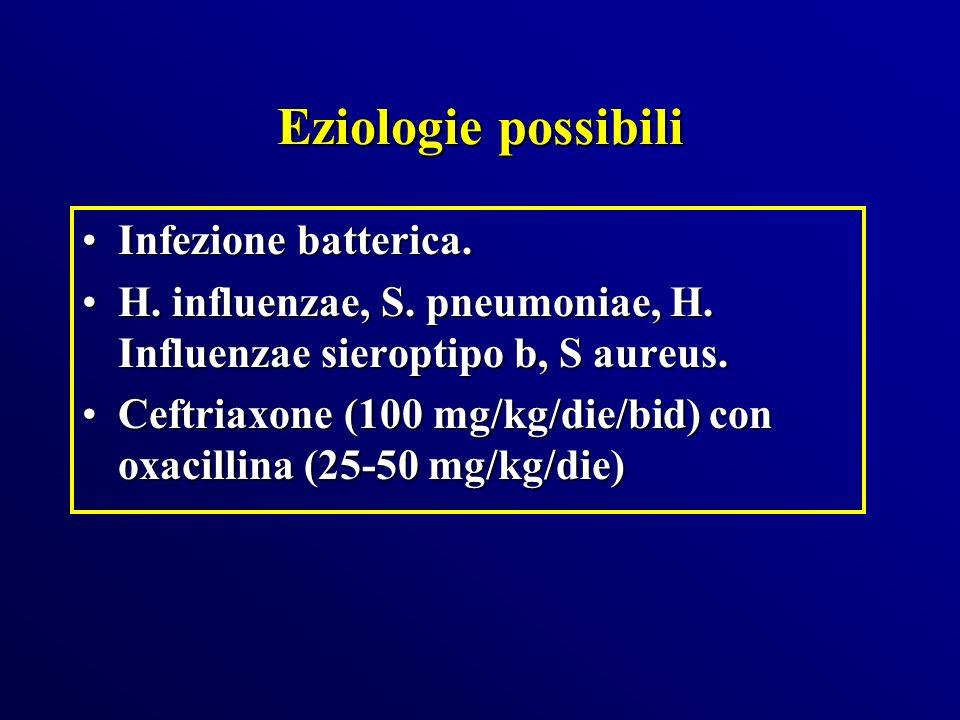 Eziologie possibili Infezione batterica.Infezione batterica. H. influenzae, S. pneumoniae, H. Influenzae sieroptipo b, S aureus.H. influenzae, S. pneu