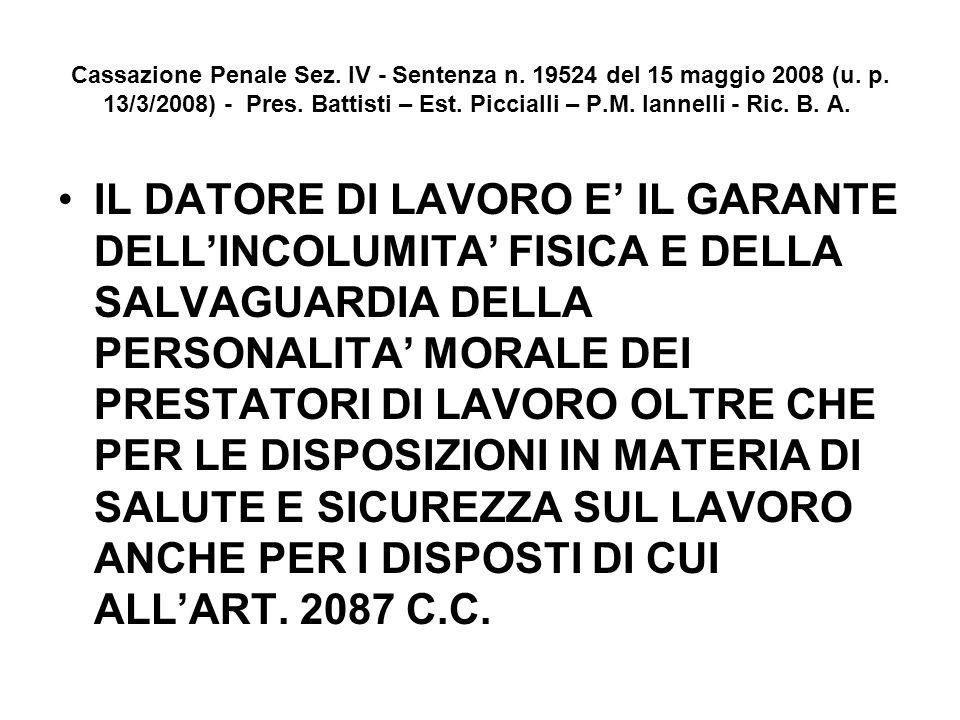 Cassazione Penale Sez. IV - Sentenza n. 19524 del 15 maggio 2008 (u. p. 13/3/2008) - Pres. Battisti – Est. Piccialli – P.M. Iannelli - Ric. B. A. IL D