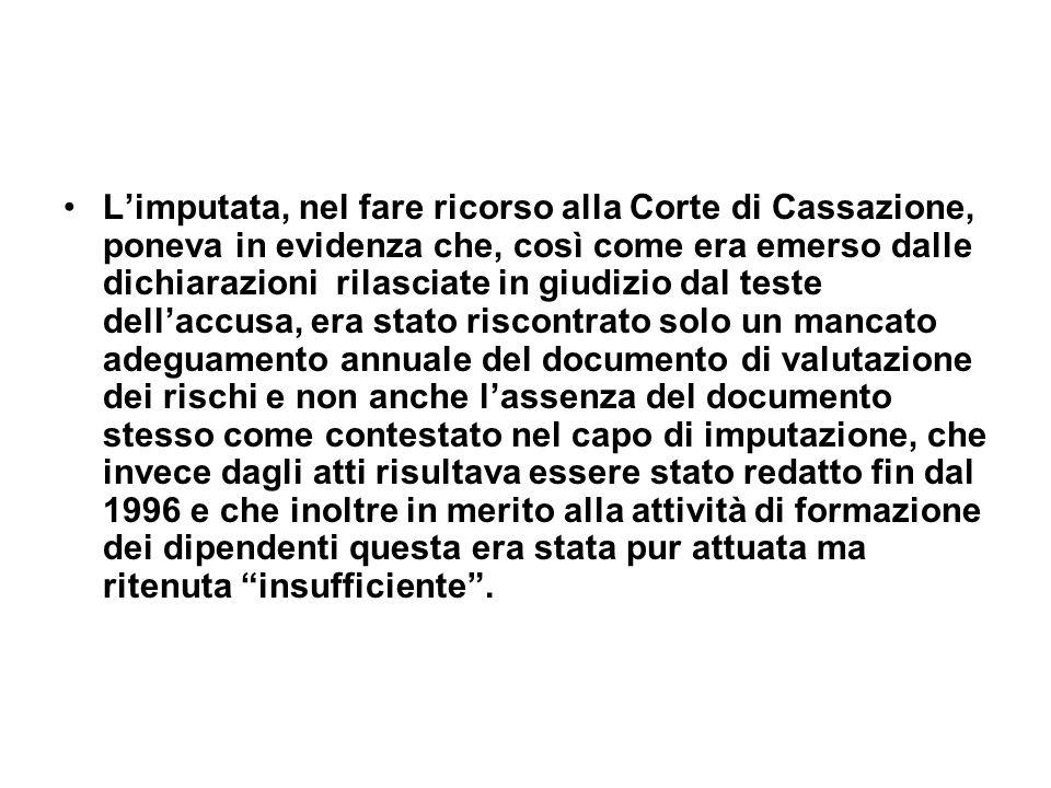 Limputata, nel fare ricorso alla Corte di Cassazione, poneva in evidenza che, così come era emerso dalle dichiarazioni rilasciate in giudizio dal test
