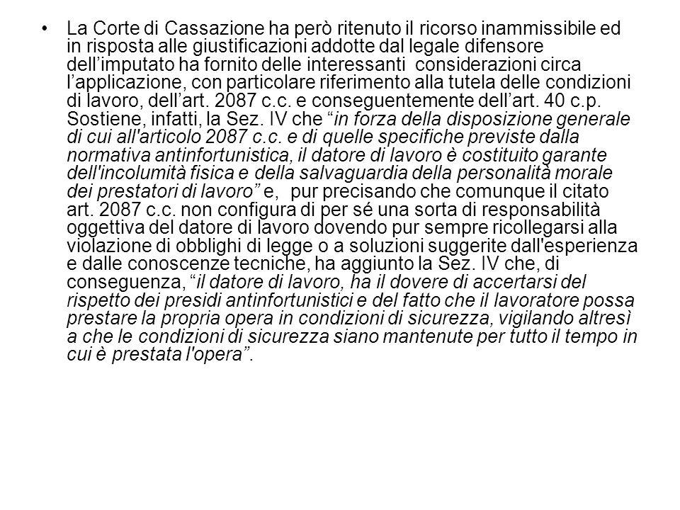 Cassazione Sezione IV Penale - Sentenza n.1834 del 15 gennaio 2010 (u.