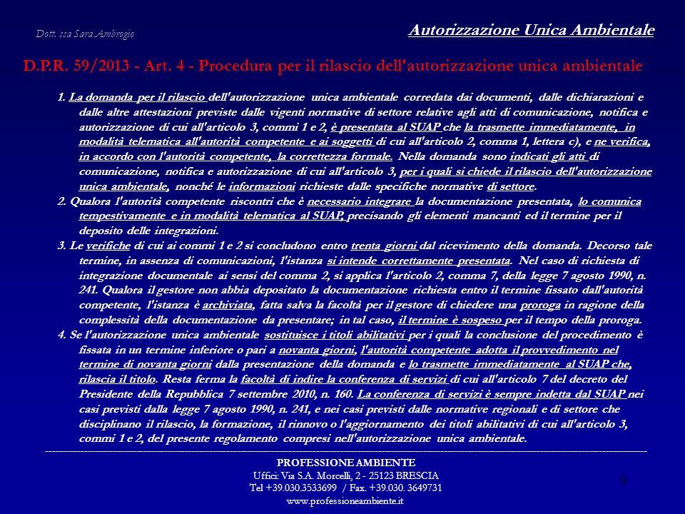 Autorizzazione Unica Ambientale ----------------------------------------------------------------------------------------------------------------------