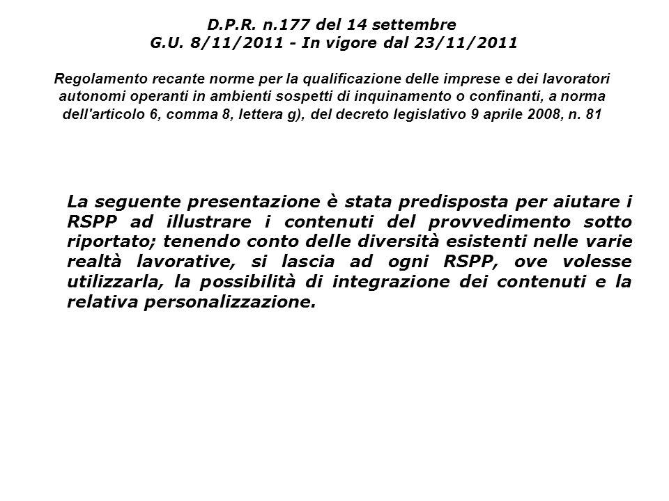 La seguente presentazione è stata predisposta per aiutare i RSPP ad illustrare i contenuti del provvedimento sotto riportato; tenendo conto delle dive