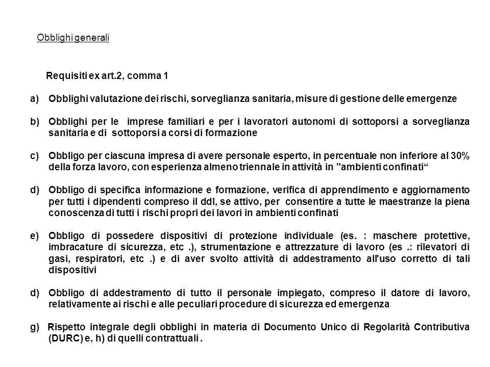 Requisiti ex art.2, comma 1 a)Obblighi valutazione dei rischi, sorveglianza sanitaria, misure di gestione delle emergenze b)Obblighi per le imprese fa