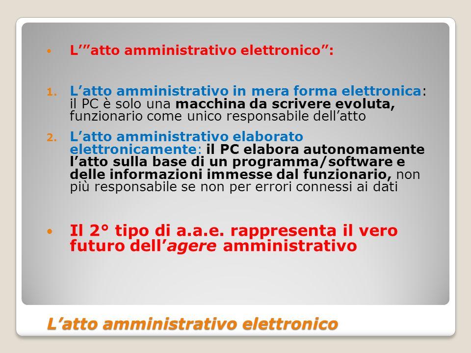 Latto amministrativo elettronico Latto amministrativo elettronico Latto amministrativo elettronico: 1. Latto amministrativo in mera forma elettronica: