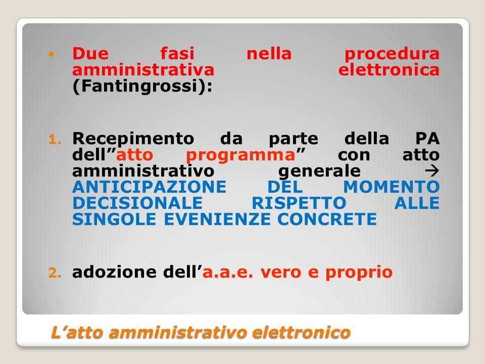 Latto amministrativo elettronico Latto amministrativo elettronico Due fasi nella procedura amministrativa elettronica (Fantingrossi): 1. Recepimento d
