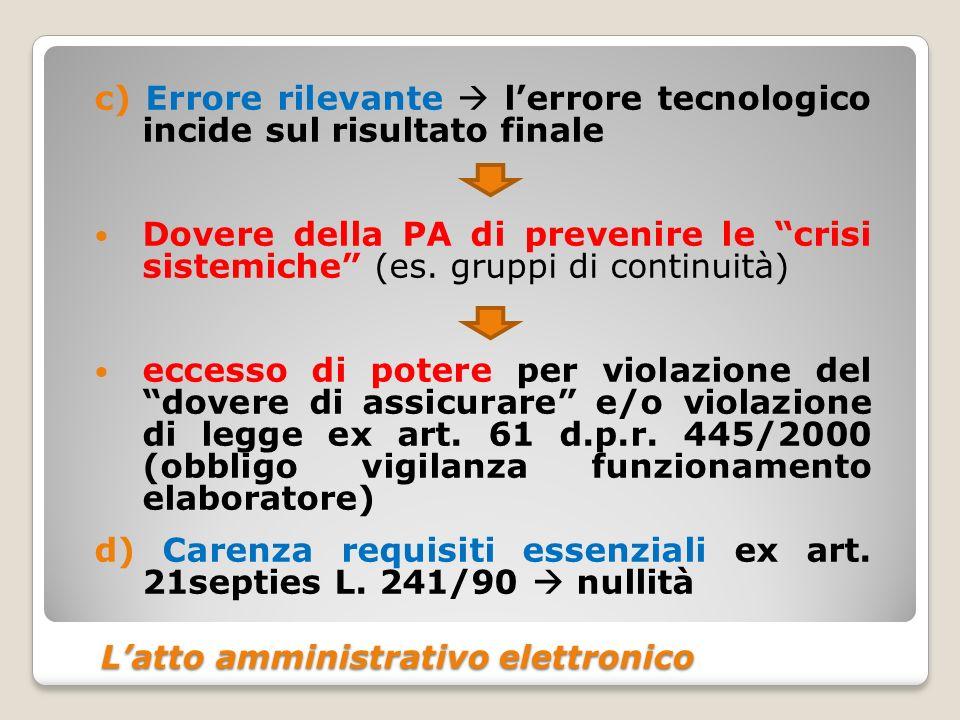 Latto amministrativo elettronico Latto amministrativo elettronico c) Errore rilevante lerrore tecnologico incide sul risultato finale Dovere della PA di prevenire le crisi sistemiche (es.