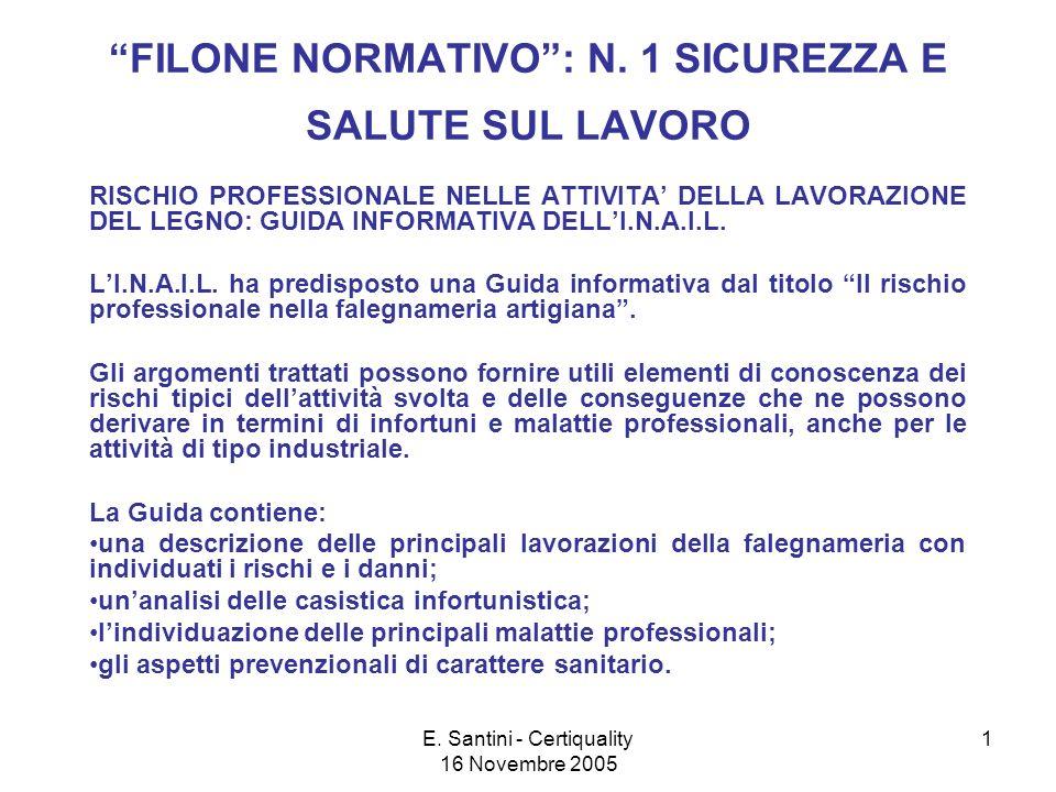 E.Santini - Certiquality 16 Novembre 2005 1 FILONE NORMATIVO: N.