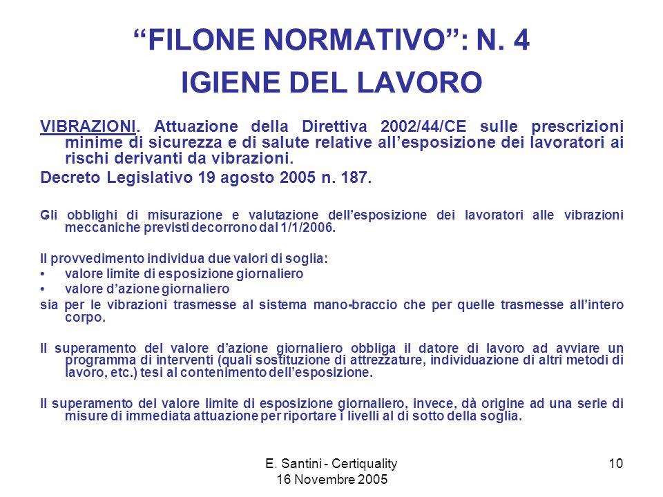 E.Santini - Certiquality 16 Novembre 2005 10 FILONE NORMATIVO: N.
