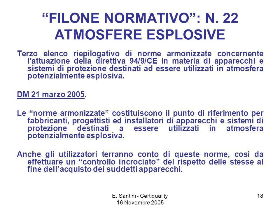 E.Santini - Certiquality 16 Novembre 2005 18 FILONE NORMATIVO: N.