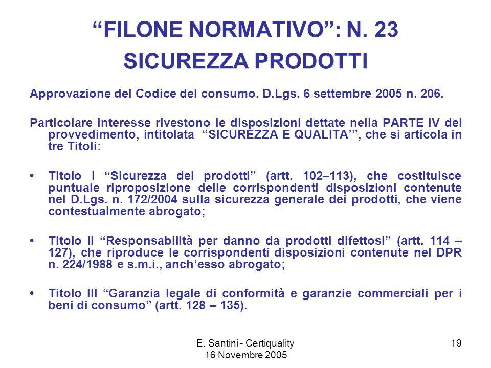 E.Santini - Certiquality 16 Novembre 2005 19 FILONE NORMATIVO: N.