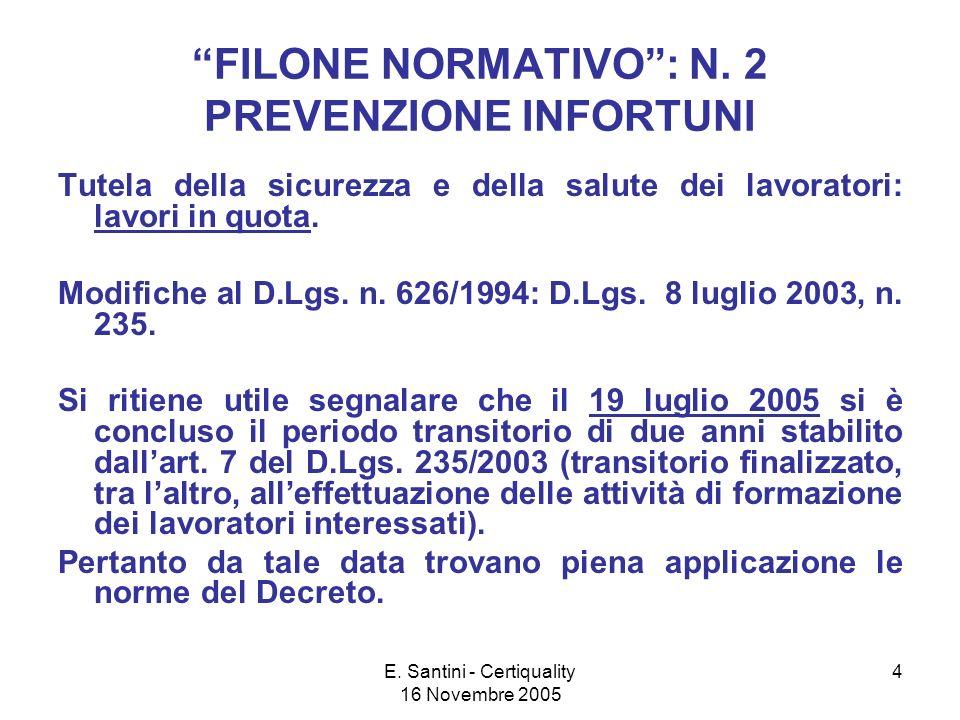 E.Santini - Certiquality 16 Novembre 2005 4 FILONE NORMATIVO: N.