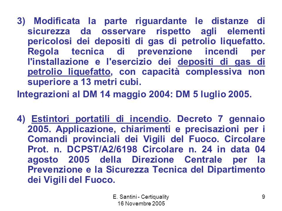 E. Santini - Certiquality 16 Novembre 2005 9 3) Modificata la parte riguardante le distanze di sicurezza da osservare rispetto agli elementi pericolos