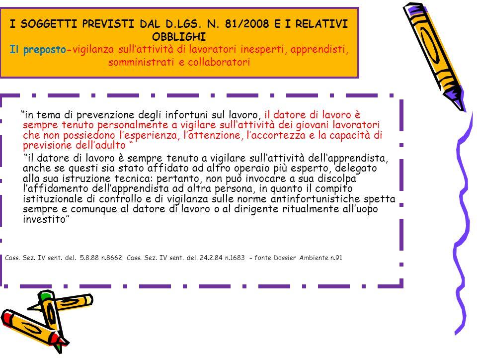 I SOGGETTI PREVISTI DAL D.LGS. N. 81/2008 E I RELATIVI OBBLIGHI Il preposto-vigilanza sullattività di lavoratori inesperti, apprendisti, somministrati