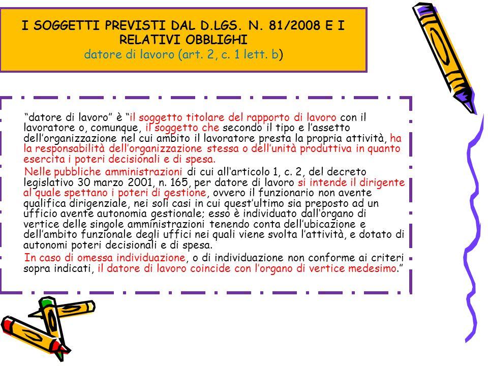 I SOGGETTI PREVISTI DAL D.LGS. N. 81/2008 E I RELATIVI OBBLIGHI datore di lavoro (art. 2, c. 1 lett. b) datore di lavoro è il soggetto titolare del ra