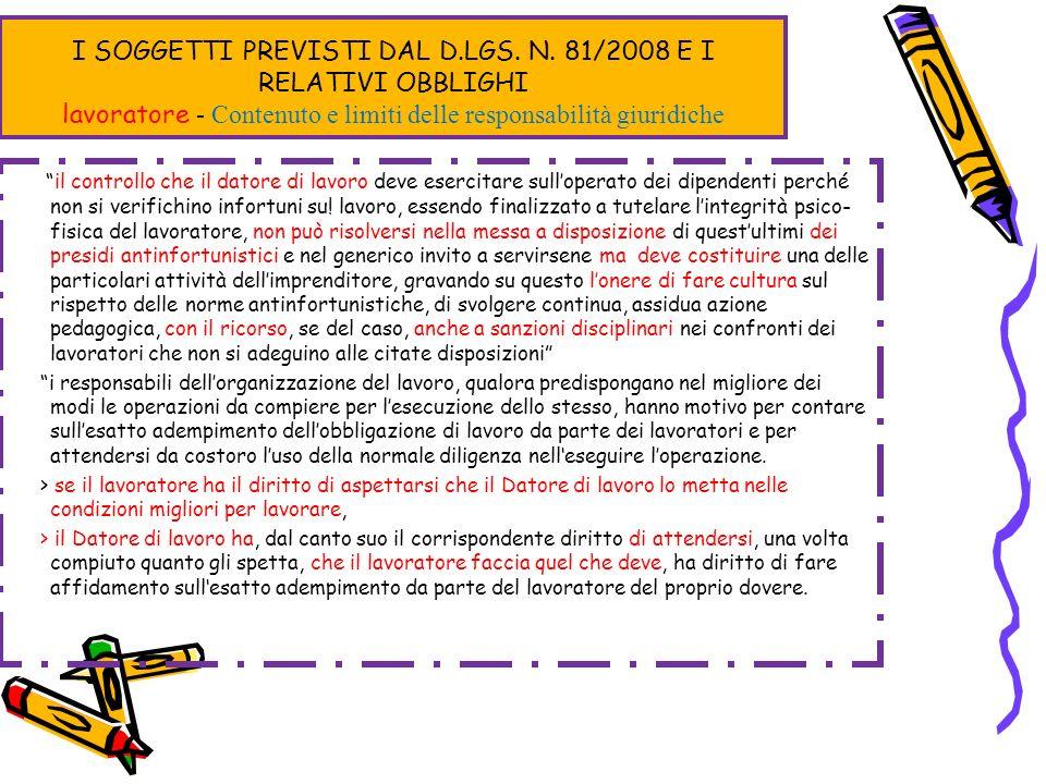 I SOGGETTI PREVISTI DAL D.LGS. N. 81/2008 E I RELATIVI OBBLIGHI lavoratore - Contenuto e limiti delle responsabilità giuridiche il controllo che il da