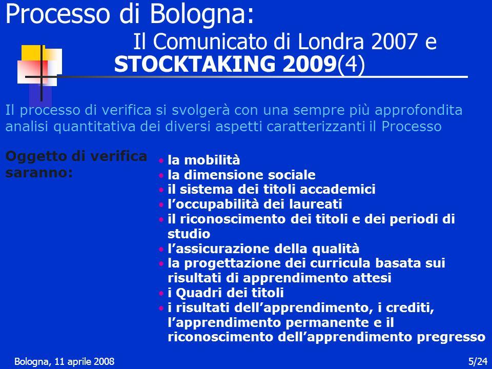 Bologna, 11 aprile 20086/24 2010 e oltre Predisporre per il 2010, in collaborazione con i Membri consultivi, un rapporto che comprenda anche la valutazione indipendente sui progressi complessivi del Processo di Bologna Il 2010 come una opportunità per riformulare la strategia La richiesta al gruppo dei Seguiti (BFUG) di riflettere e riferire come potrebbe svilupparsi il Processo prevedendo anche le strutture di sostegno Processo di Bologna: Il Comunicato di Londra 2007 (5)