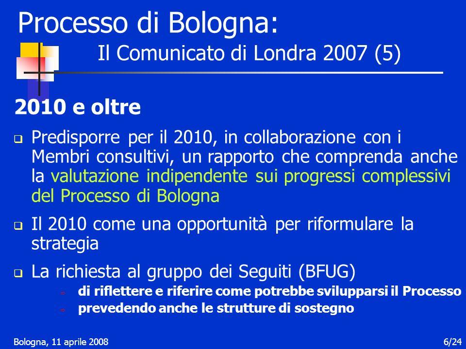 Bologna, 11 aprile 20087/24 LItalia partecipa ai seguenti Gruppi di lavoro: Struttura dei titoli Mobilità Stocktaking Processo di Bologna: Programma di lavoro 2007-2009