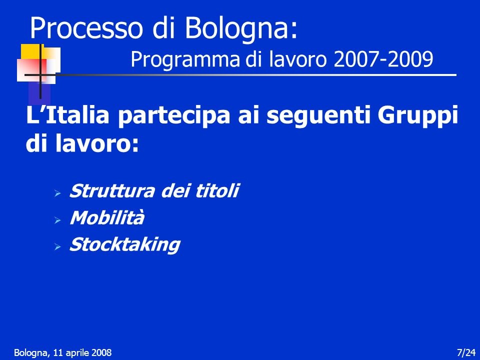Bologna, 11 aprile 200818/24 Contesto nazionale: la nuova normativa sulla Programmazione I programmi di internazionalizzazione Linternazionalizzazione dellUniversità italiana è da ritenersi obiettivo strategico da perseguire in coerenza con gli impegni assunti nella dichiarazione di Bologna e con gli indirizzi della Commissione europea.