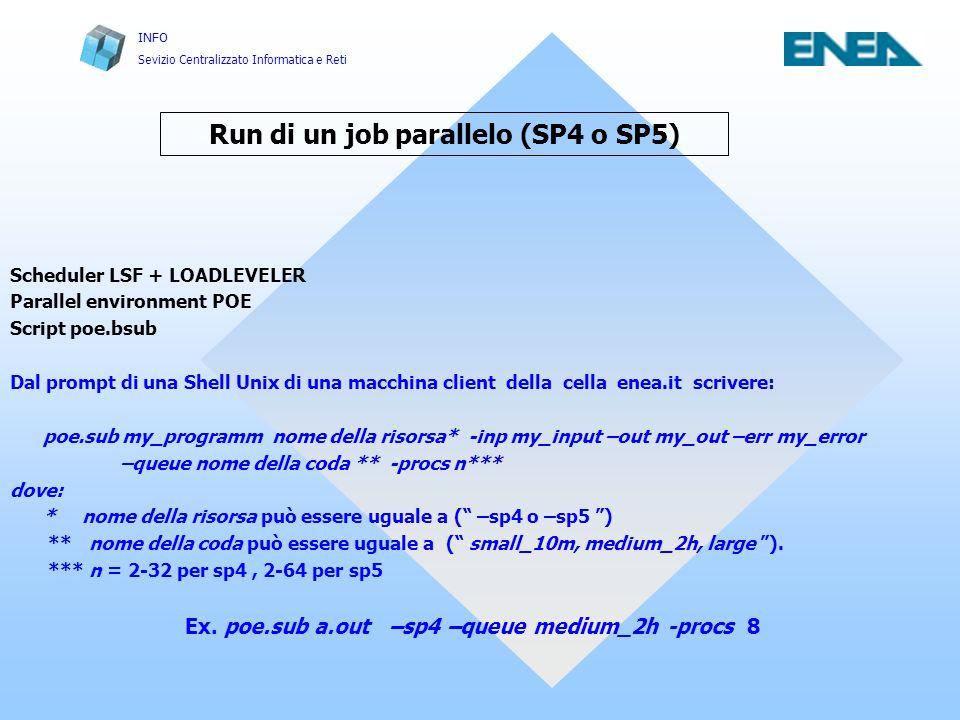 INFO Sevizio Centralizzato Informatica e Reti Run di un job parallelo (SP4 o SP5) Scheduler LSF + LOADLEVELER Parallel environment POE Script poe.bsub Dal prompt di una Shell Unix di una macchina client della cella enea.it scrivere: poe.sub my_programm nome della risorsa* -inp my_input –out my_out –err my_error –queue nome della coda ** -procs n*** dove: * nome della risorsa può essere uguale a ( –sp4 o –sp5 ) ** nome della coda può essere uguale a ( small_10m, medium_2h, large ).