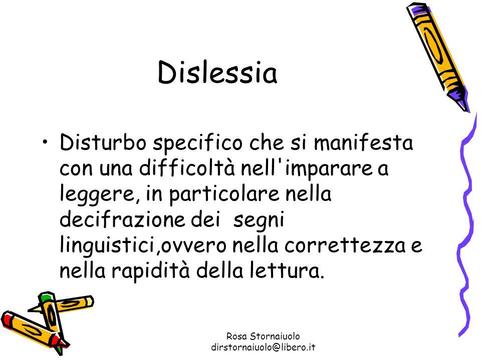Rosa Stornaiuolo dirstornaiuolo@libero.it Dislessia Disturbo specifico che si manifesta con una difficoltà nell'imparare a leggere, in particolare nel