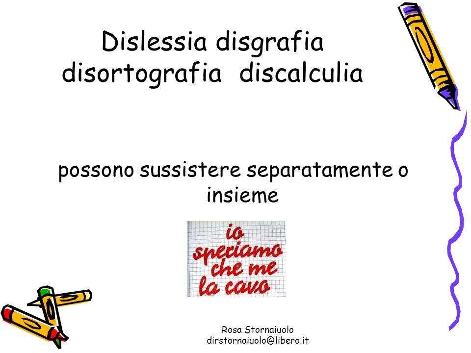 Rosa Stornaiuolo dirstornaiuolo@libero.it Dislessia disgrafia disortografia discalculia possono sussistere separatamente o insieme