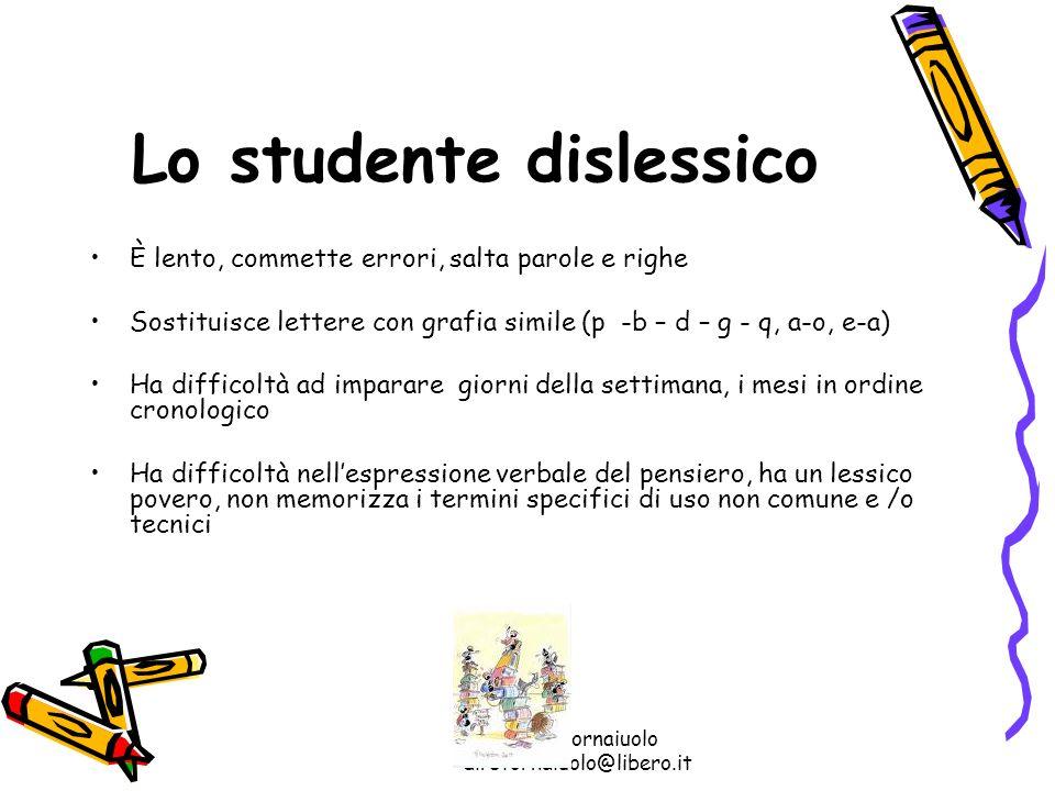 Rosa Stornaiuolo dirstornaiuolo@libero.it Lo studente dislessico È lento, commette errori, salta parole e righe Sostituisce lettere con grafia simile