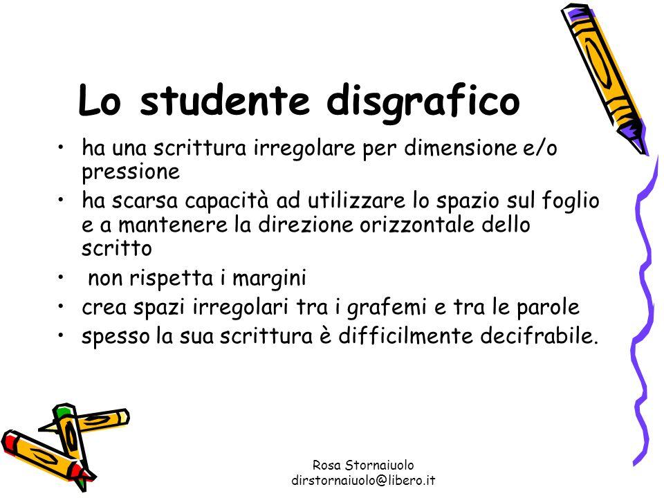 Rosa Stornaiuolo dirstornaiuolo@libero.it Lo studente disgrafico ha una scrittura irregolare per dimensione e/o pressione ha scarsa capacità ad utiliz