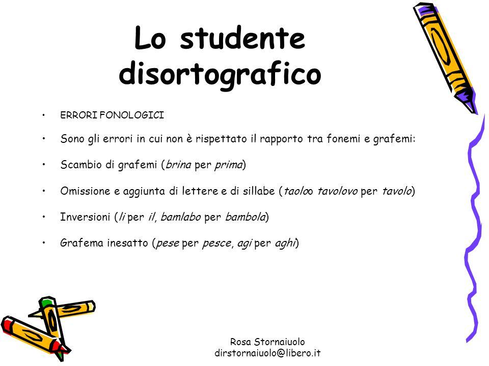 Rosa Stornaiuolo dirstornaiuolo@libero.it Lo studente disortografico ERRORI FONOLOGICI Sono gli errori in cui non è rispettato il rapporto tra fonemi