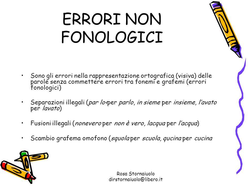 Rosa Stornaiuolo dirstornaiuolo@libero.it ERRORI NON FONOLOGICI Sono gli errori nella rappresentazione ortografica (visiva) delle parole senza commett
