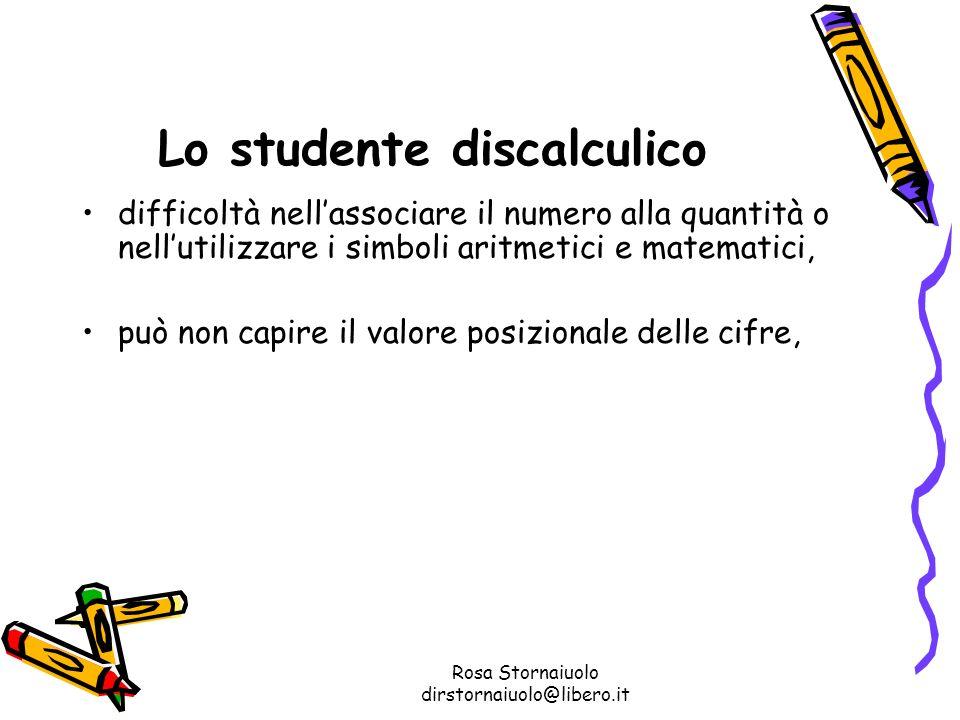 Rosa Stornaiuolo dirstornaiuolo@libero.it Lo studente discalculico difficoltà nellassociare il numero alla quantità o nellutilizzare i simboli aritmet