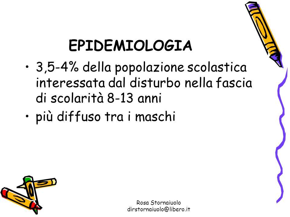 Rosa Stornaiuolo dirstornaiuolo@libero.it EPIDEMIOLOGIA 3,5-4% della popolazione scolastica interessata dal disturbo nella fascia di scolarità 8-13 an
