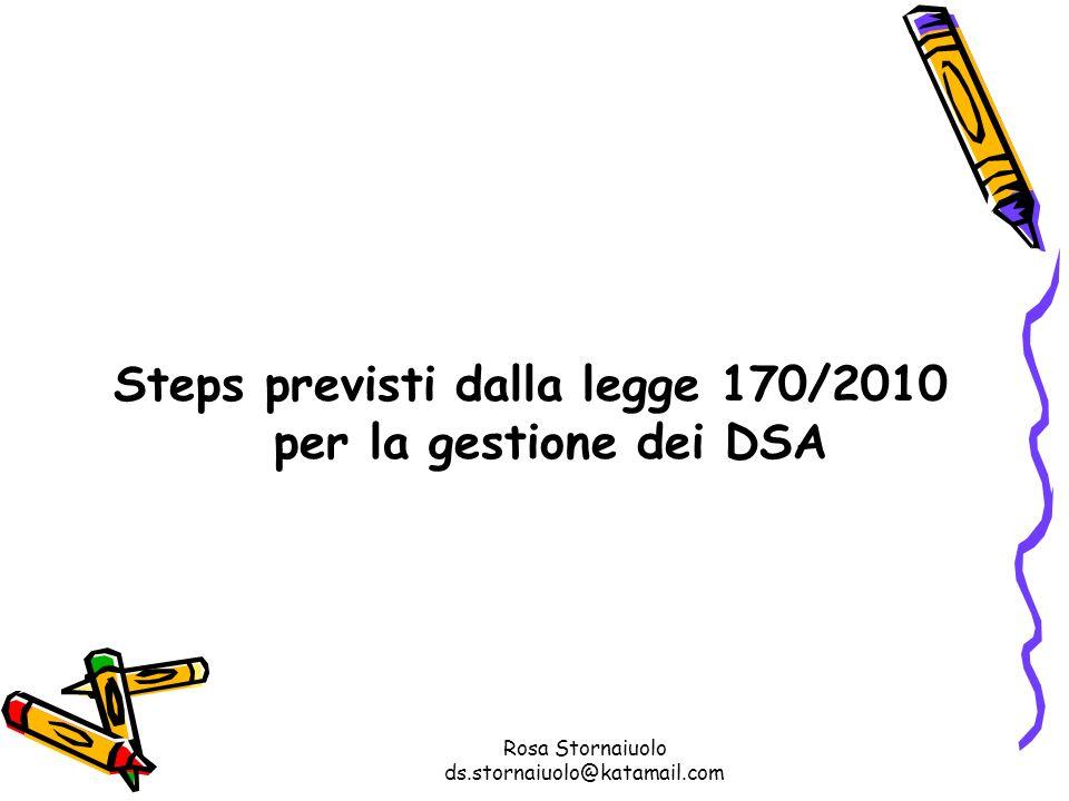 Rosa Stornaiuolo ds.stornaiuolo@katamail.com Steps previsti dalla legge 170/2010 per la gestione dei DSA