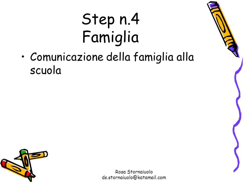 Rosa Stornaiuolo ds.stornaiuolo@katamail.com Step n.4 Famiglia Comunicazione della famiglia alla scuola