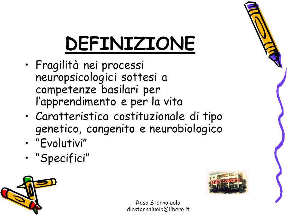 Rosa Stornaiuolo dirstornaiuolo@libero.it DEFINIZIONE Fragilità nei processi neuropsicologici sottesi a competenze basilari per lapprendimento e per l